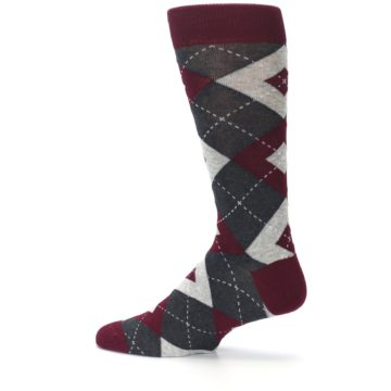 Image of Wine Burgundy Grey Argyle Men's Dress Socks (side-2-13)