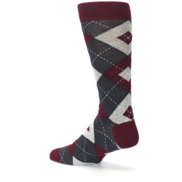 Image of Wine Burgundy Grey Argyle Men's Dress Socks (side-2-back-14)