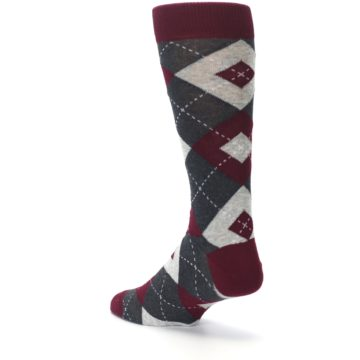 Image of Wine Burgundy Grey Argyle Men's Dress Socks (side-2-back-15)