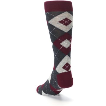 Image of Wine Burgundy Grey Argyle Men's Dress Socks (side-2-back-16)