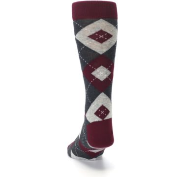 Image of Wine Burgundy Grey Argyle Men's Dress Socks (back-17)