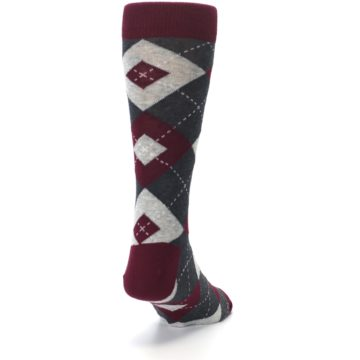 Image of Wine Burgundy Grey Argyle Men's Dress Socks (side-1-back-20)