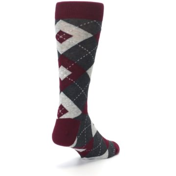 Image of Wine Burgundy Grey Argyle Men's Dress Socks (side-1-back-21)