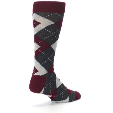 Image of Wine Burgundy Grey Argyle Men's Dress Socks (side-1-back-22)