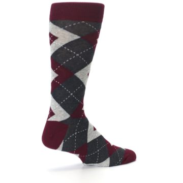 Image of Wine Burgundy Grey Argyle Men's Dress Socks (side-1-23)