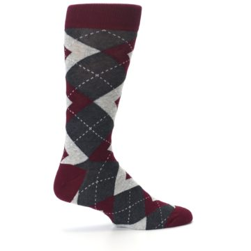 Image of Wine Burgundy Grey Argyle Men's Dress Socks (side-1-24)