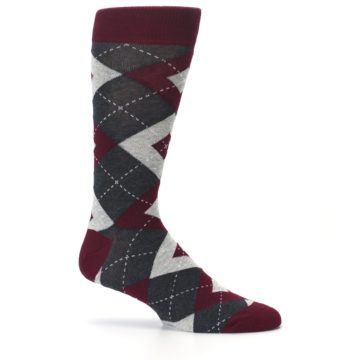Image of Wine Burgundy Grey Argyle Men's Dress Socks (side-1-25)