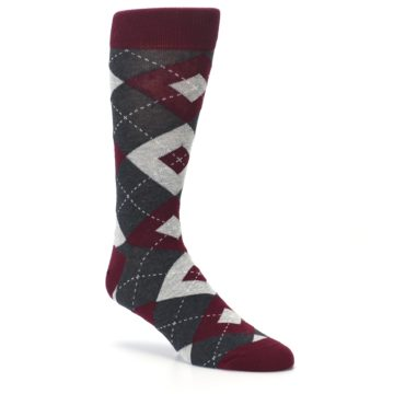 Image of Wine Burgundy Grey Argyle Men's Dress Socks (side-1-27)