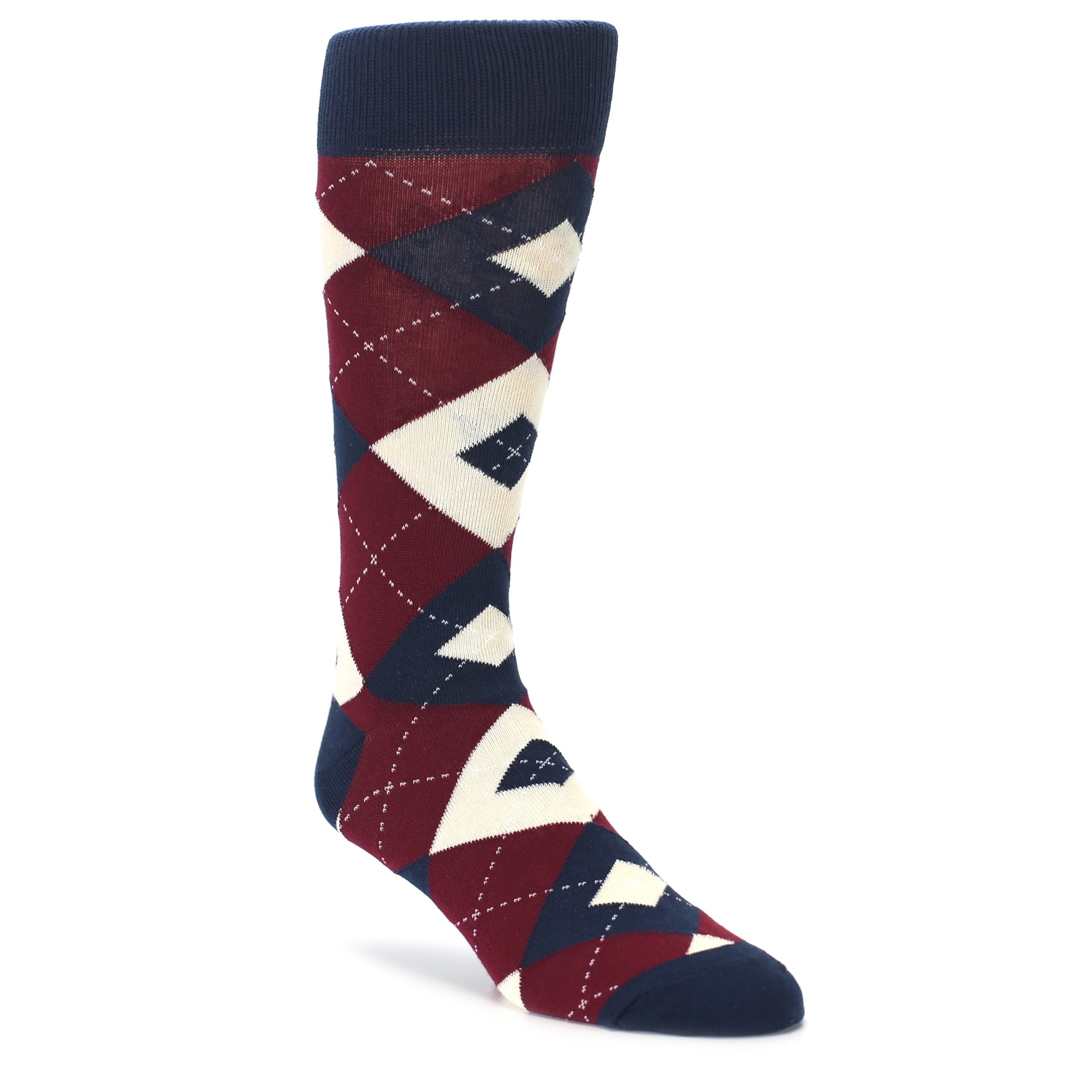 65b8df84f855 Burgundy Navy Argyle Men's Dress Socks   boldSOCKS