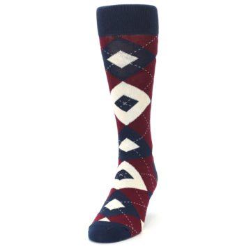 Image of Burgundy Navy Argyle Men's Dress Socks (side-2-front-06)