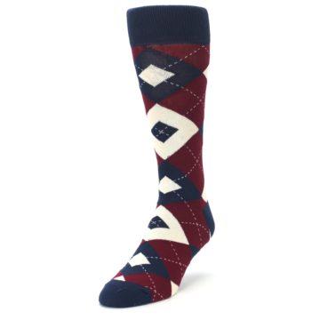 Image of Burgundy Navy Argyle Men's Dress Socks (side-2-front-07)