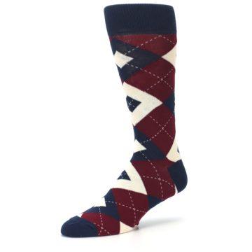 Image of Burgundy Navy Argyle Men's Dress Socks (side-2-09)