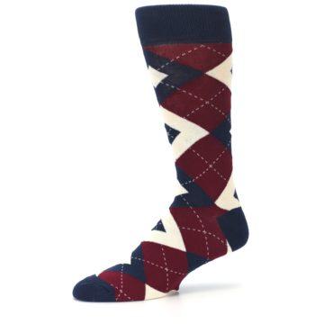 Image of Burgundy Navy Argyle Men's Dress Socks (side-2-10)