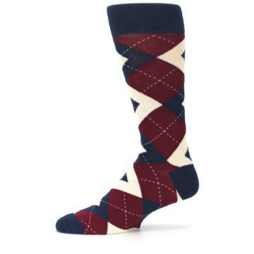 Image of Burgundy Navy Argyle Men's Dress Socks (side-2-11)