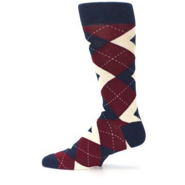 Image of Burgundy Navy Argyle Men's Dress Socks (side-2-12)