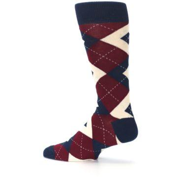 Image of Burgundy Navy Argyle Men's Dress Socks (side-2-13)
