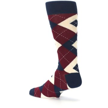 Image of Burgundy Navy Argyle Men's Dress Socks (side-2-back-14)