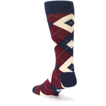 Image of Burgundy Navy Argyle Men's Dress Socks (side-2-back-15)