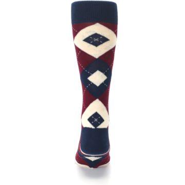 Image of Burgundy Navy Argyle Men's Dress Socks (back-18)