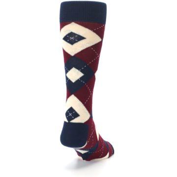 Image of Burgundy Navy Argyle Men's Dress Socks (side-1-back-20)