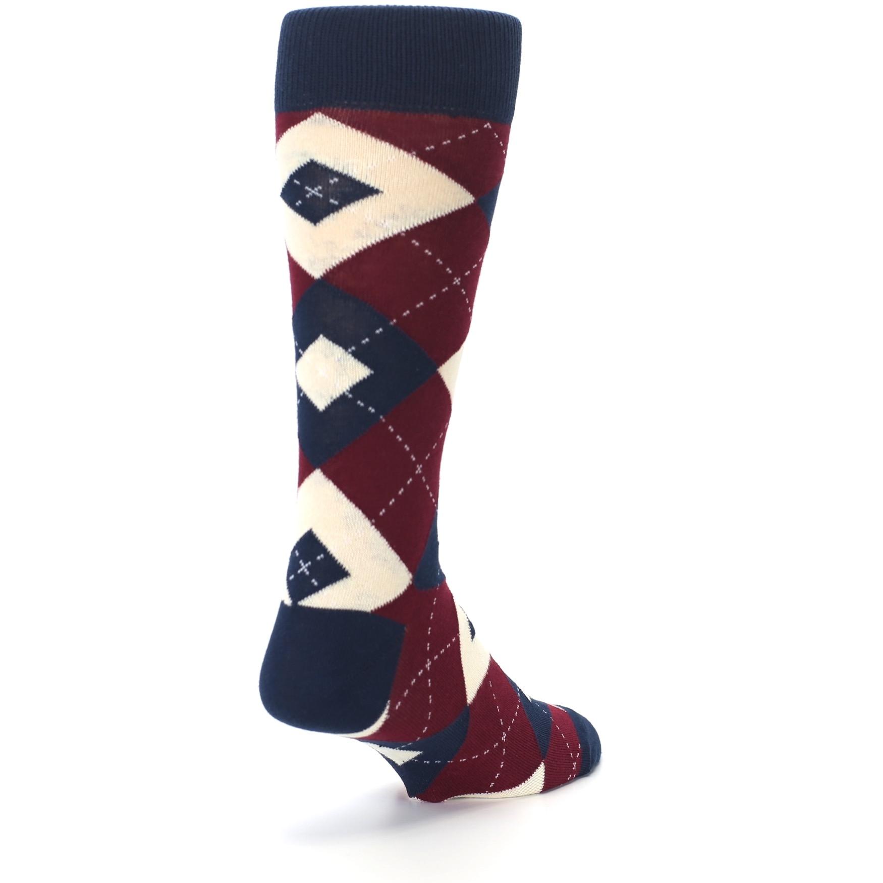 077c639b13e5 Image of Burgundy Navy Argyle Men's Dress Socks (side-1-back-21