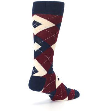 Image of Burgundy Navy Argyle Men's Dress Socks (side-1-back-22)