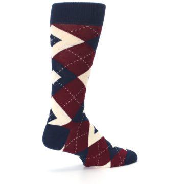 Image of Burgundy Navy Argyle Men's Dress Socks (side-1-23)