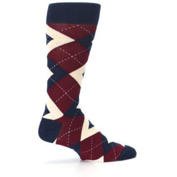 Image of Burgundy Navy Argyle Men's Dress Socks (side-1-24)