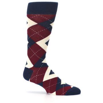 Image of Burgundy Navy Argyle Men's Dress Socks (side-1-25)