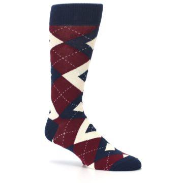 Image of Burgundy Navy Argyle Men's Dress Socks (side-1-26)