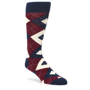 Image of Burgundy Navy Argyle Men's Dress Socks (side-1-27)