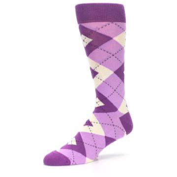 Image of Purple Bouquet Argyle Wedding Groomsmen Men's Dress Socks (side-2-09)