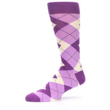 Image of Purple Bouquet Argyle Wedding Groomsmen Men's Dress Socks (side-2-10)