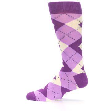Image of Purple Bouquet Argyle Wedding Groomsmen Men's Dress Socks (side-2-12)