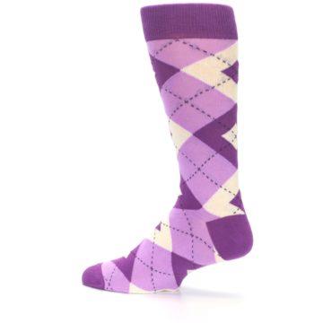 Image of Purple Bouquet Argyle Wedding Groomsmen Men's Dress Socks (side-2-13)
