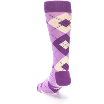 Image of Purple Bouquet Argyle Wedding Groomsmen Men's Dress Socks (side-2-back-16)