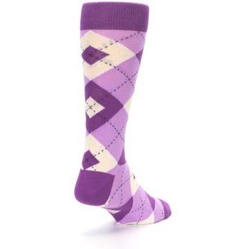 Image of Purple Bouquet Argyle Wedding Groomsmen Men's Dress Socks (side-1-back-21)