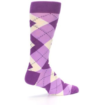 Image of Purple Bouquet Argyle Wedding Groomsmen Men's Dress Socks (side-1-23)