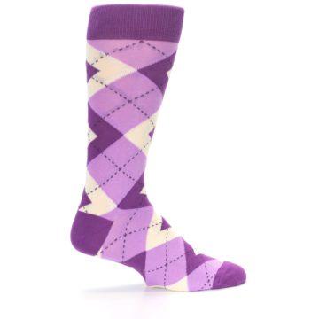 Image of Purple Bouquet Argyle Wedding Groomsmen Men's Dress Socks (side-1-24)