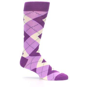 Image of Purple Bouquet Argyle Wedding Groomsmen Men's Dress Socks (side-1-25)