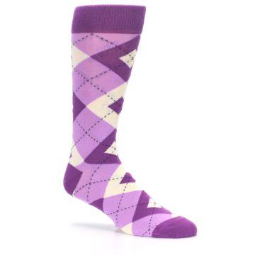 Image of Purple Bouquet Argyle Wedding Groomsmen Men's Dress Socks (side-1-26)