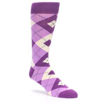 Image of Purple Bouquet Argyle Wedding Groomsmen Men's Dress Socks (side-1-27)
