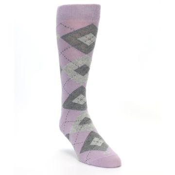Image of Quartz Gray Argyle Wedding Groomsmen Men's Dress Socks (side-1-front-02)