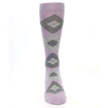 Image of Quartz Gray Argyle Wedding Groomsmen Men's Dress Socks (front-04)