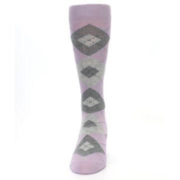 Image of Quartz Gray Argyle Wedding Groomsmen Men's Dress Socks (front-05)
