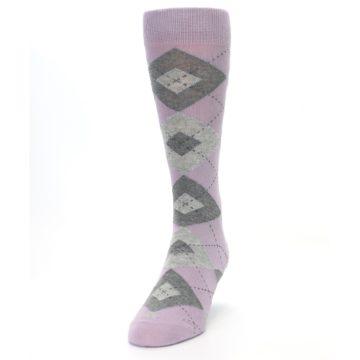 Image of Quartz Gray Argyle Wedding Groomsmen Men's Dress Socks (side-2-front-06)