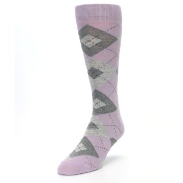 Image of Quartz Gray Argyle Wedding Groomsmen Men's Dress Socks (side-2-front-07)