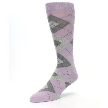Image of Quartz Gray Argyle Wedding Groomsmen Men's Dress Socks (side-2-front-08)