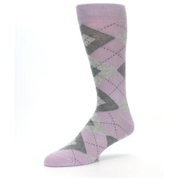 Image of Quartz Gray Argyle Wedding Groomsmen Men's Dress Socks (side-2-09)