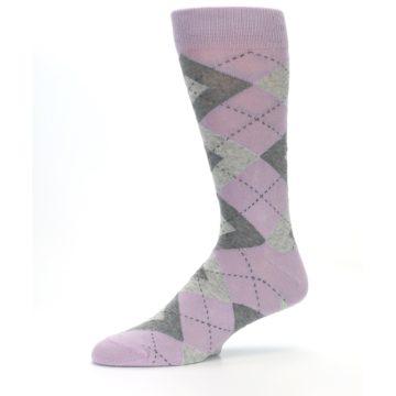 Image of Quartz Gray Argyle Wedding Groomsmen Men's Dress Socks (side-2-10)